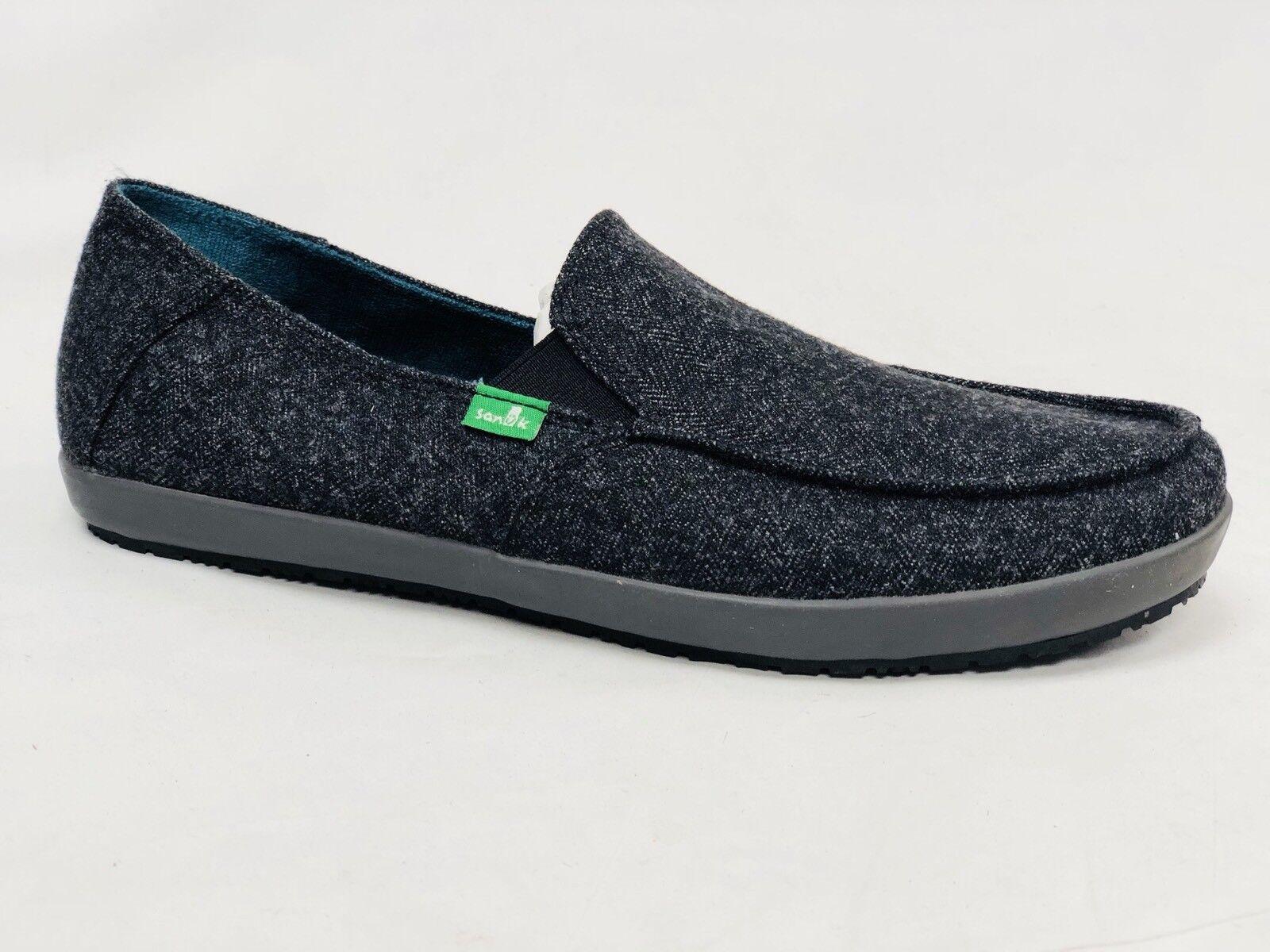 SANUK CASA TX BLACK HERRING BOAT CANVAS SHOE MENS SIZE 9 slip on loafer SMF10510