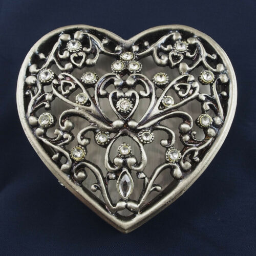Heart Shape Trinket Box Pewter Jewelled Crystals Silver Toned Lift off lid 7cm