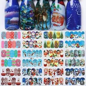 Christmas-Santa-Claus-3D-Nail-Art-Stickers-Decals-1-Sheet-Nail-Transfer-Manicure