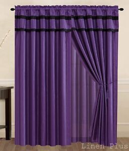 Purple Black Curtain Panel Window Covering Drapes ONLY AT Linen Plus