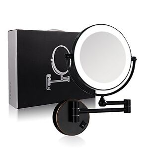 Details About Gurun Vanity Makeup Mirror 7x Magnifying Oil Rubbed Bronze Lighted Wall Mounted