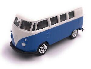 VW-Bulli-Bus-T1-Modellauto-Auto-LIZENZPRODUKT-1-60-Blau-Rot