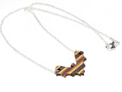 RECYCLED SKATEBOARD Bat Necklace Handmade Wooden Vampire Gothic Wood Pendant