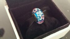 NEW Pandora Murano Glass Charm Bead Wild Blue Pink Flowers S925 ALE
