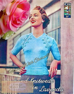 Vintage 40s Knitting Pattern Lady/'s /'Sophia/' Cardigan Jumper Fit 32-36in Bust.