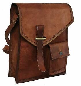 Men/'s Rustic Genuine Leather Messenger Shoulder Bag Small Cross Body Satchel