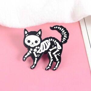 Black-cat-skull-badge-brooch-pin-sugar-skull-style-cat-enamel-flash