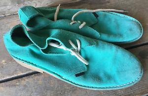 "Ben Sherman Aqua Green Suede Shoes Size 44 Mens 10 1"" Heel Lace Up Hip Vintage"