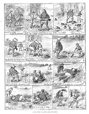 Victorian Comic Hunting Scenes Mr Stodge After the Rabbits Antique Print 1884