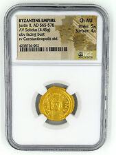 A NGC BYZANTINE SOLIDUS OF JUSTIN II