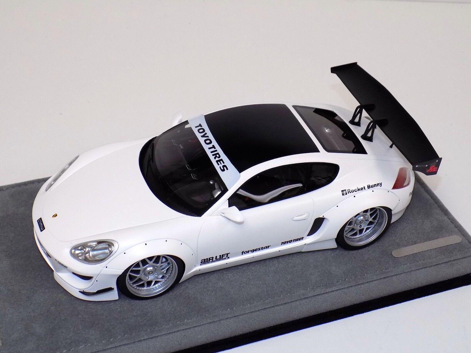 la mejor selección de 1 18 ab modelos Porsche Porsche Porsche Cayman cohete Bunny blancoo mate sobre base de Alcántara  ventas en linea