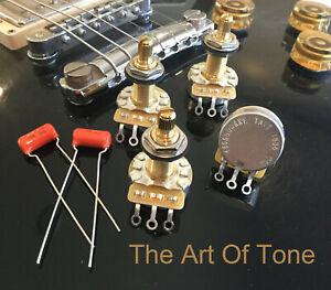 FOUR-4X-CTS-TAOT-CUSTOM-500K-Pots-LONG-Shaft-Audio-Taper-10-Tol-Caps