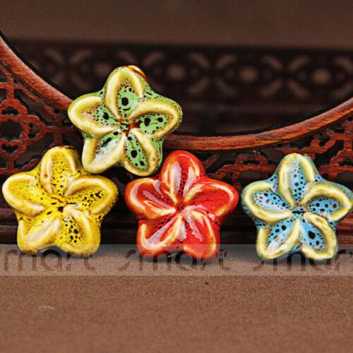4pcs couleurs mélangées fleur forme Folk Style Céramique Loose Beads 30x12mm