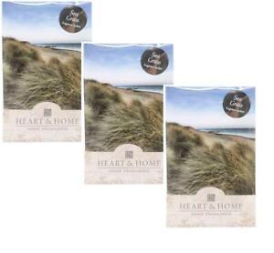 Appris Lot De 3 Coeur Et Maison Sea Grass Large Fragrance Scented Sachet Avec Cintre-afficher Le Titre D'origine