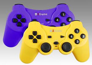 Controller-coppia-di-joypad-PC-usb-dual-shock-BULK-viola-arancio-giallo-nero