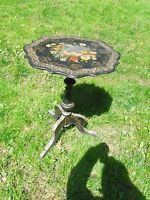 Antique Victorian 19th Century Paper Mache Mother of Pearl  Inlay Tilt Top Table