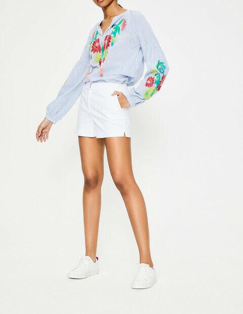Boden Femmes Rachel Short Chino Blanc Wj055 Rrp £ 50.00 Neuf Taille Uk 18