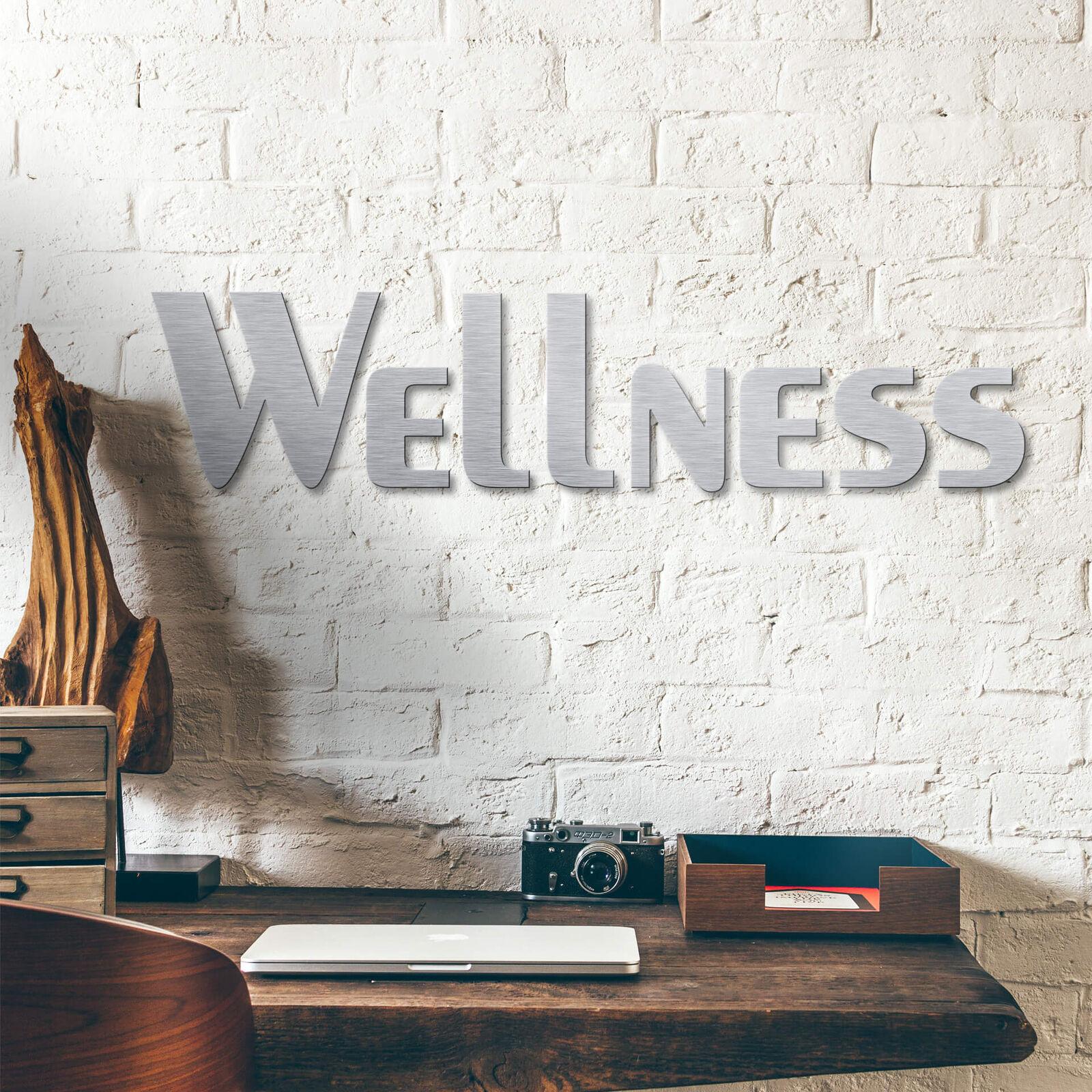 Alu-Dibond Buchstaben - Silbereffekt - Wellness WANDDEKO SCHRIFTZUG leicht