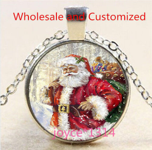 Christmas Cabochon Silver//Bronze//Black//Gold Glass Chain Pendant Necklace #5153