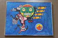 1989 original acrylic on paper native painting by Roy Pahpasay Winnipeg Manitoba Preview