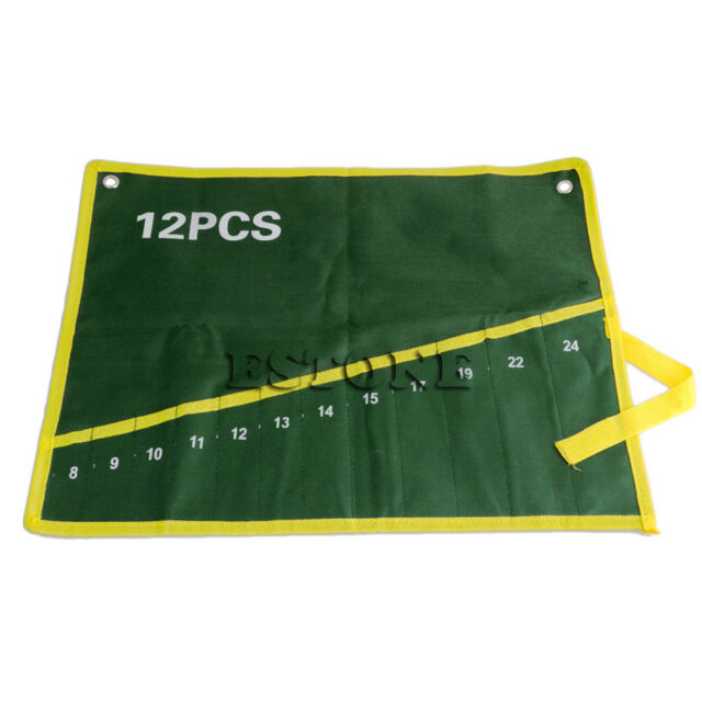 6/8/10/12/14/25 Pocket Canvas Spanner Wrench Tool Roll Up Storage Bags Organizer