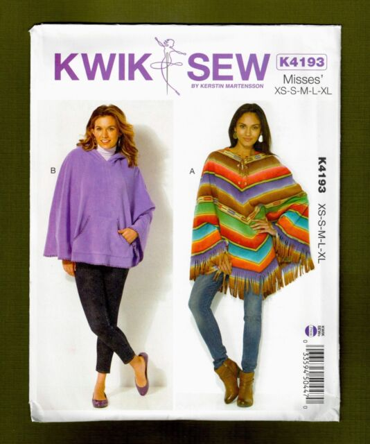 Kwik Sew K4193 Xs Xl Sewing Pattern Ladies Hooded Poncho With