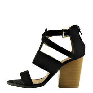 e74d5c989 Qupid Barnes 115A Black Women s Open Toe Gladiator Caged Stacked ...