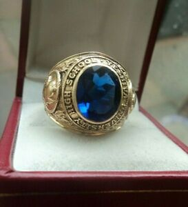 Superb-10ct-Gold-College-School-Ring-Yeshiva-University-High-School-1966-size-S