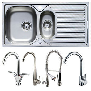 Stainless Steel 1.5 Bowl Kitchen Sink | Reversible Drainer + ...