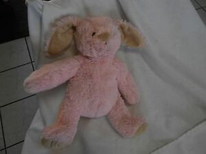 "pink tan trim BROWN STITCHED EYES BUNNY RABBIT 14"" PLUSH LOVEY BABY SOFT"