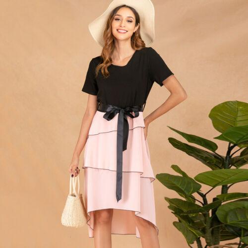 Frauen Kleid Damen Locker Sommerkleid Taillengürtel Schnürung Knielang