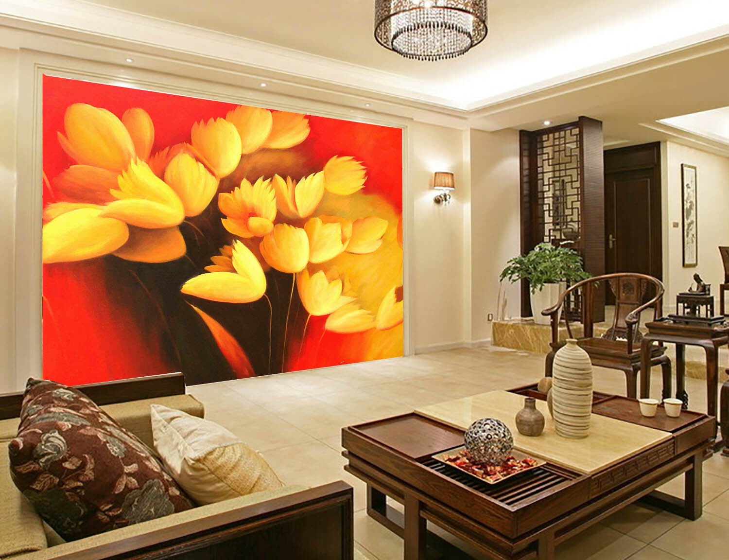 3D Yellow Flowers 669 Wall Paper Wall Print Decal Wall Deco Wall Indoor Murals