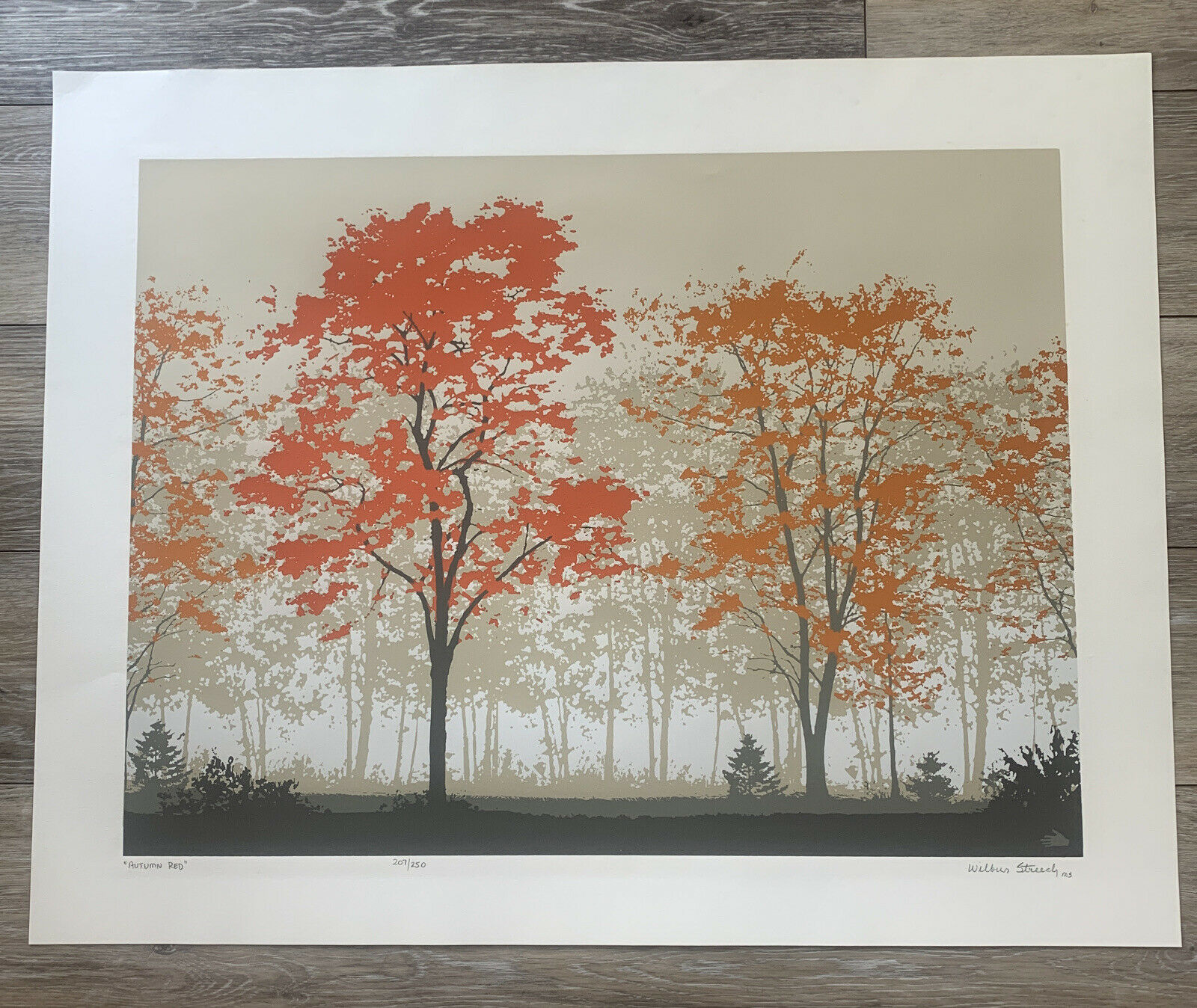 """Signed Wilbur Streech """"Autumn Red"""" #207/250 Serigraph Limited Autograph on eBay thumbnail"""