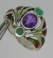Stunning Plique A Jour Style Sterling Silver Amethyst & Emerald Ring-uk P