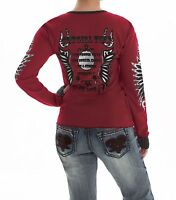 Cowgirl Tuff Women's Red & Black Studded Thermal Winged Henley Shirt H00445