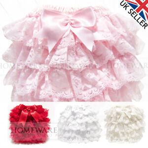 740209c23830 GIRLS BABY FRILLY KNICKERS SPANISH STYLE SOFT FRILLY PANTS SATIN BOW ...
