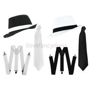 877f524bc44 Image is loading DELUXE-PINSTRIPE-GANGSTER-HAT-BRACES-AND-TIE-TRILBY-