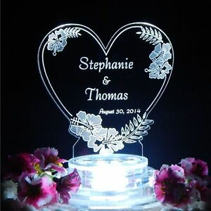 Personalized Glass Heart Cake Topper