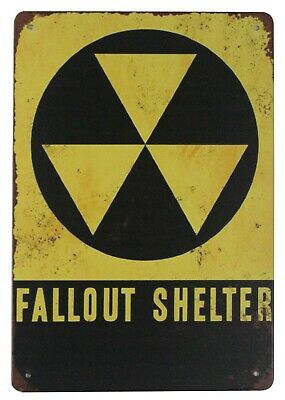 Fallout Shelter Nuclear Radiation Warning tin metal retro shop signs US Seller