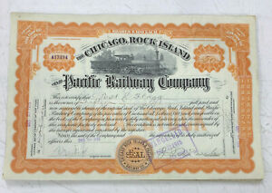 1915-Chicago-Rock-Island-amp-Pacific-Railway-Stock-Certificate-Railroad