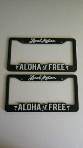 Local Motion Hawaii License Plate Frame Black Aloha is Free  Palm Tree Set of 2