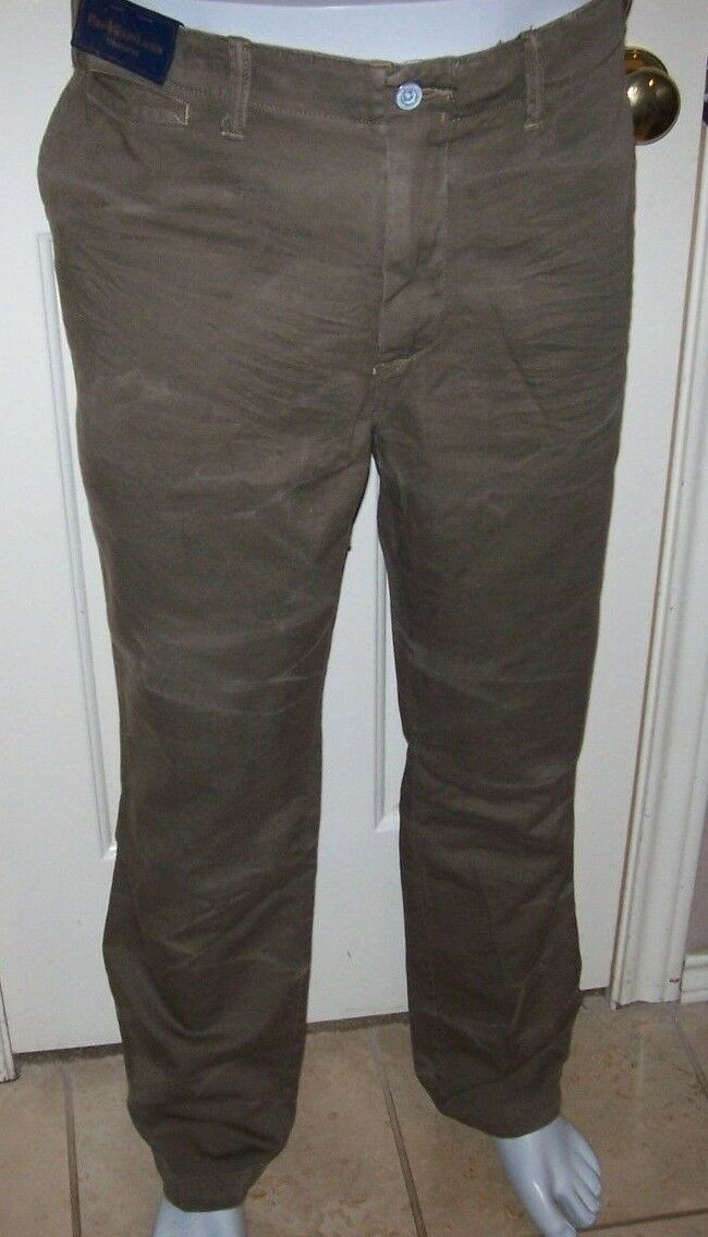 Nouveau Polo RALPH LAUREN coupe droite Army Fatigue Pantalon Flat Front Vert 38 x 32