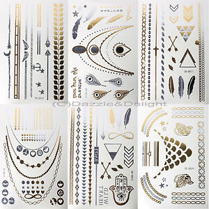 Details About Metallic Tattoo Tattoos Gold Silver Temporary Tattoo Paper Sheet Pack Bracelets
