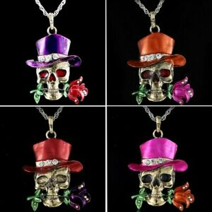 Retro-Skull-Rose-Flower-Love-Pendant-Necklace-Chain-Jewelry-Women-Party-Hot-Gift