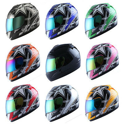 MOTORCYCLE STREET BIKE FULL FACE HELMET BLACK BLUE GREEN RED PINK ORANGE YELLOW