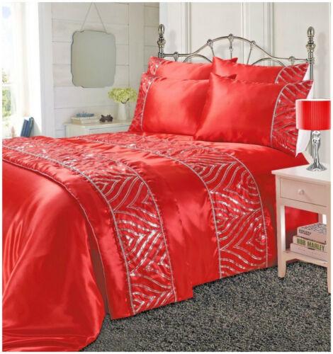 Crystal Shimmer Diamante Sequins Sparkle Duvet Quilt Cover Bedding Set