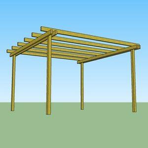 Pergola gazebo 4x4 in legno impregnato struttura da for Pergolato in legno fai da te
