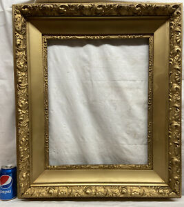 Vtg-LARGE-Victorian-Style-Gold-ORNATE-Wood-amp-Chalk-Design-20x16-Frame-NO-GLASS