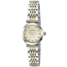 Bulova Women's 98P154 Diamond Accents Champagne Mother of Pearl Dial 25mm Watch