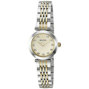 Bulova-Women-039-s-98P154-Diamond-Accents-Champagne-Mother-of-Pearl-Dial-25mm-Watch